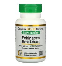 California Gold Nutrition, EuroHerbs, Echinacea Herb Extract, 80 mg, 60 Veggie Capsules