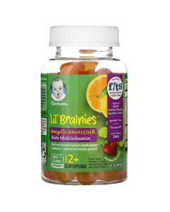 Gerber, Lil Brainies, Omega Tri-Blend & DHA, Kids Multivitamin, Ages 2+, 60 Gummies